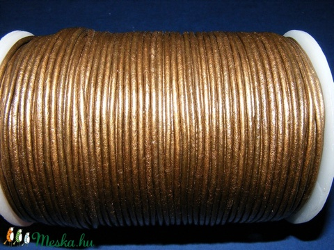 Hasított bőrszíj - 2 mm (14. minta/1 m) - bronz (metál) - Meska.hu