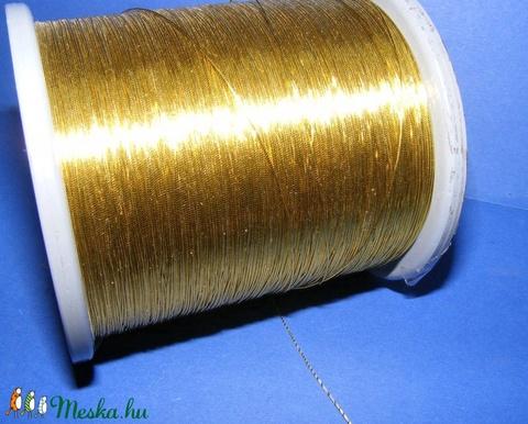 Metál zsinór (0,5 mm/1 m) - fényes arany - gyöngy, ékszerkellék - Meska.hu