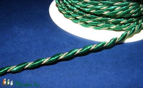 Sodrott zsinór - 4 mm (ZS106/1 m) - zöld/arany lurex - Meska.hu