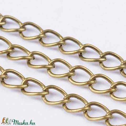 Bronz színű lánc (20. minta/1 m) - 7x5x0,9 mm - Meska.hu