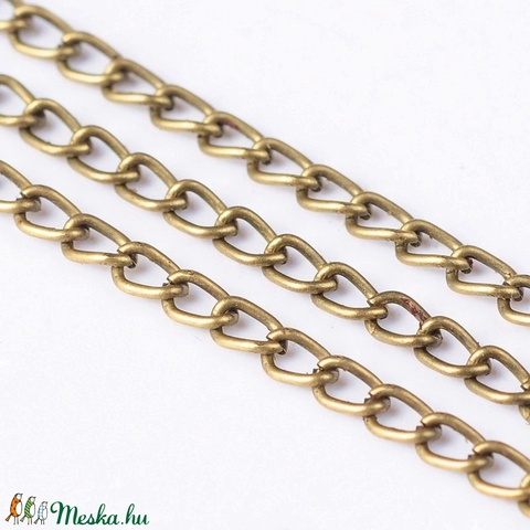 Bronz színű lánc (59. minta/1 m) - 3x2,2x0,6 mm - Meska.hu