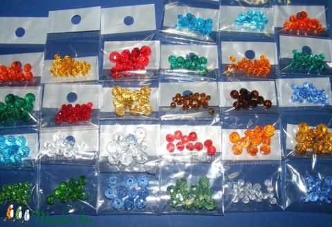Csiszolt üveggyöngy-5 (6x8 mm/10 db) - piros - gyöngy, ékszerkellék - Meska.hu