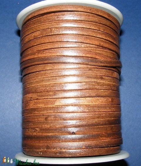 Lapos bőrszíj - 5x2 mm (2. minta/1 m) - antik sötétbarna - Meska.hu