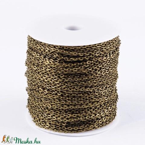 Bronz színű lánc (1. minta/1 m) - 4x2,7x0,7 mm - gyöngy, ékszerkellék - Meska.hu