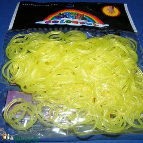 Gumigyűrű-23 (~260 db/csomag) - fluoreszkáló átlátszó citromsárga - Meska.hu