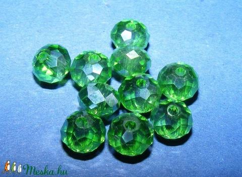 Csiszolt üveggyöngy-26 (4x6 mm/10 db) - zöld - gyöngy, ékszerkellék - Meska.hu