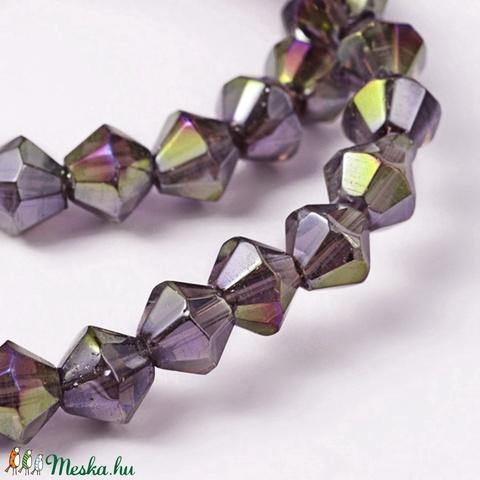 Csiszolt üveggyöngy-50 (6x6 mm/15 db) - irizáló lila gyémánt - Meska.hu