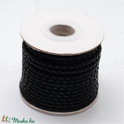 Fonott bőrszíj - 3 mm (1. minta/0,5 m) - fekete - Meska.hu
