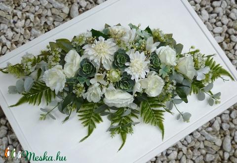 Greenery esküvői főasztaldísz kövirózsával (Decoflor) - Meska.hu