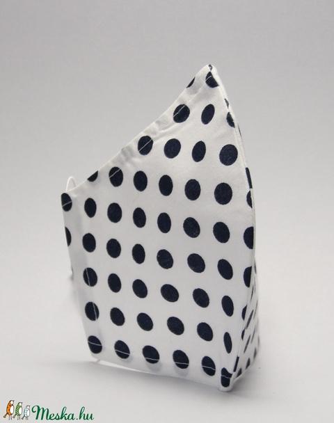 Egyedi pöttyös szájmaszk -pamut szájmaszk - egészségügyi mosható szájmaszk-gyermek-felnőtt fekete pöttyös szájmaszk - Meska.hu
