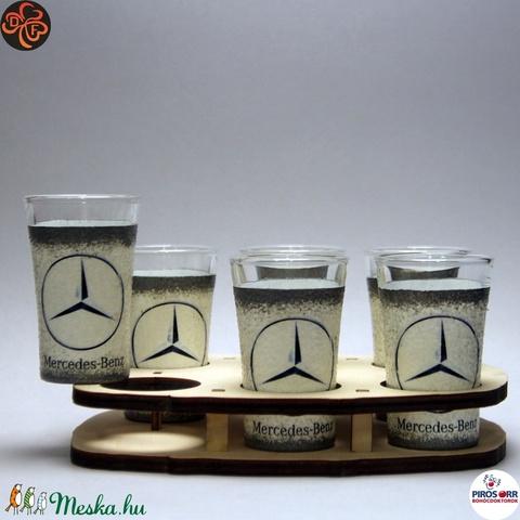 MERCEDES pálinkás pohár szett ; Mercedes rajongóknak, férjeknek, barátoknak - otthon & lakás - konyhafelszerelés - pohár - Meska.hu