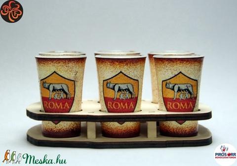 AS Roma pálinkás pohár készlet ; AS Roma futball szurkolóknak, férjnek, barátnak születésnapra, névnapra, karácsonyra - otthon & lakás - konyhafelszerelés - pohár - Meska.hu
