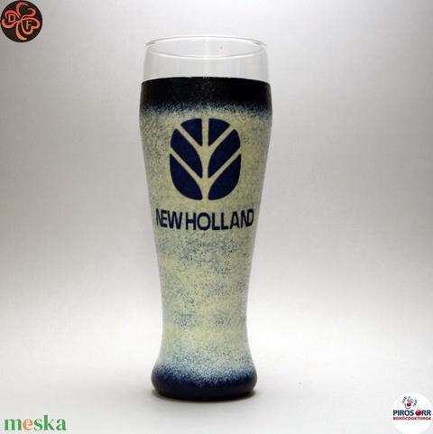 New Holland Traktor sörös pohár ; Saját traktorod fényképével is! - otthon & lakás - konyhafelszerelés - pohár - Meska.hu