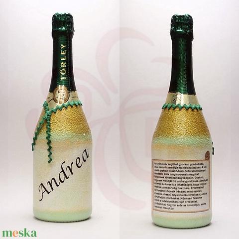 Neves-névnapos ANDREA nevű nőknek, neves ajándék pezsgő - otthon & lakás - dekoráció - díszüveg - Meska.hu