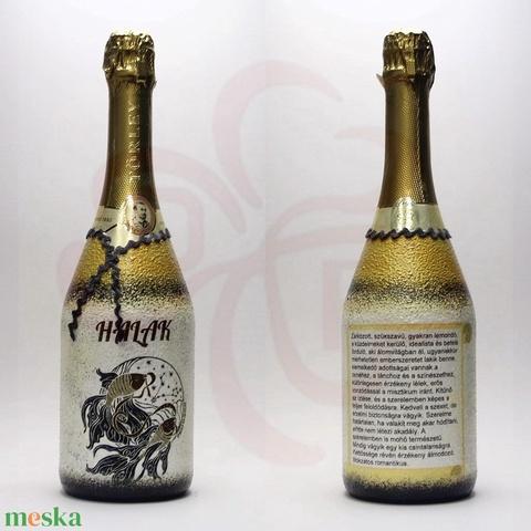 Horoszkóp HALAKnak, horoszkópos ajándék pezsgő - otthon & lakás - dekoráció - díszüveg - Meska.hu