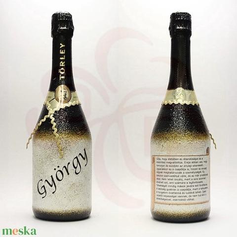 Neves-névnapos GYÖRGY nevű férfiaknak, neves ajándék pezsgő - otthon & lakás - dekoráció - díszüveg - Meska.hu