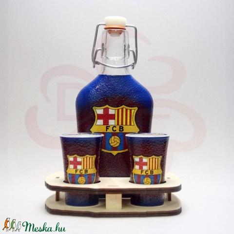 FC Barcelona pálinkás készlet sötét; Barcelona futball szurkolóknak - otthon & lakás - dekoráció - díszüveg - Meska.hu