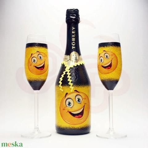 Szülinap, névnap. ünnep, farsang, szilveszter ; vidám pezsgő készlet ajándékba - otthon & lakás - konyhafelszerelés - pohár - Meska.hu