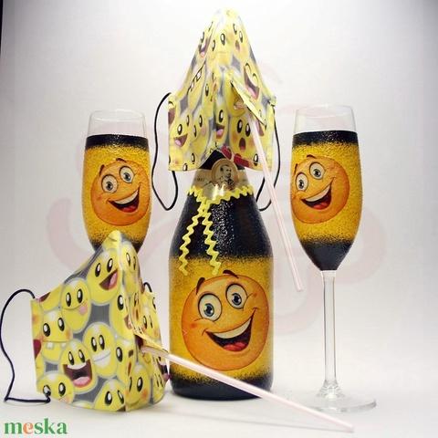 Szülinap, névnap. ünnep, farsang, szilveszter ; vidám pezsgő készlet arcmaszkkal - otthon & lakás - konyhafelszerelés - pohár - Meska.hu