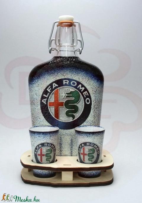 Alfa Romeo pálinkás szett; A saját Alfa autód fotójával is!  - otthon & lakás - dekoráció - díszüveg - Meska.hu