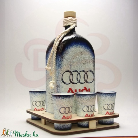 Audi pálinkás készlet ; Audi rajongóknak - otthon & lakás - dekoráció - díszüveg - Meska.hu