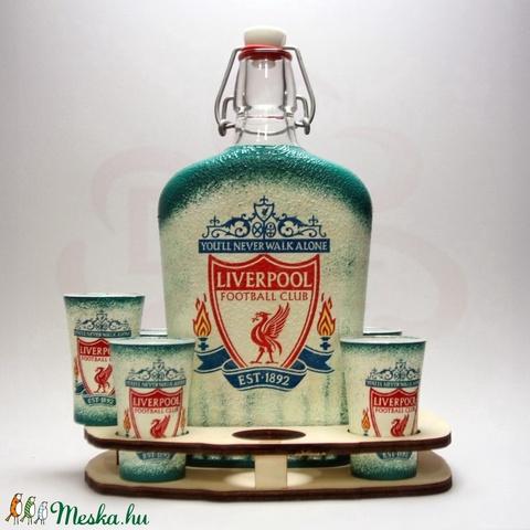 LIVERPOOL pálinkás készlet ; Liverpool szurkolóknak - otthon & lakás - konyhafelszerelés - üveg & kancsó - Meska.hu