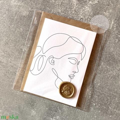 Trendi képeslap borítékkal és viaszpecséttel • K014 - Meska.hu