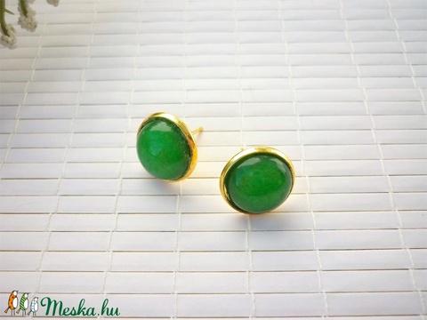 Zöld jade - 12mm-es, bedugós ásvány fülbevaló nemesacél alapban - Meska.hu