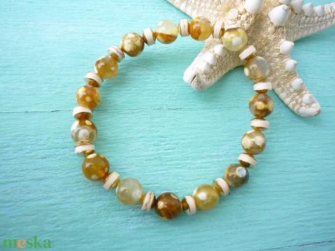 Méz - sárgásbarnás többszínű achát karkötős szett - Meska.hu