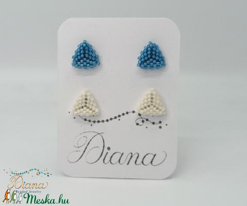 Ear candy fülbevaló szett - Kék és fehér - ékszer - fülbevaló - pötty fülbevaló - Meska.hu