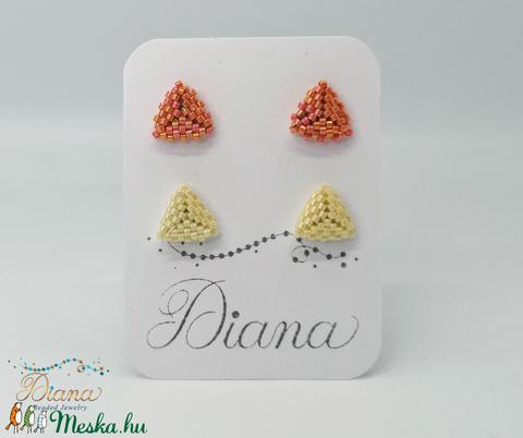 Ear candy fülbevaló szett - Narancs és beige - ékszer - fülbevaló - pötty fülbevaló - Meska.hu