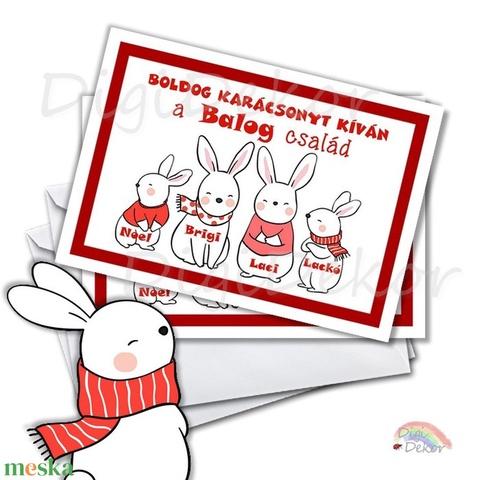 Karácsonyi képeslap, családi kép, vicces karácsonyi ajándék, névre szóló, személyre szabott tervezés, nyuszis képeslap  (DigiBugs) - Meska.hu