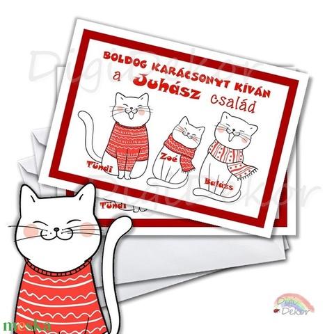 Karácsonyi képeslap, vicces karácsonyi ajándék, családi kép, névre szóló képeslap, cicás karácsonyi ajándék, üdvözlőlap  (DigiBugs) - Meska.hu