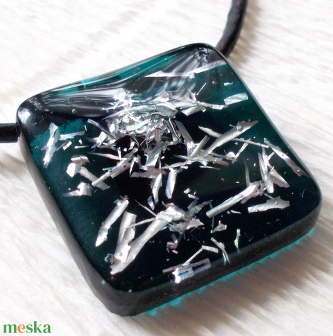 Sötét türkiz-ezüst kristály, üvegékszer, szalagavató bálra, névnapra, születésnapra. - Meska.hu