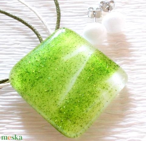 Zöld csillámos ékszerszett, ajándék névnapra, születésnapra, pedagógus napra. - ékszer - ékszerszett - Meska.hu