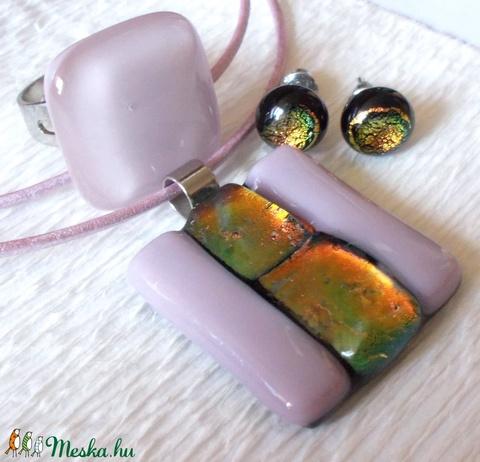 KÉSZLETKISÖPRÉS!!! Füstös lila üvegékszer nyaklánc, gyűrű és fülbevaló,  ajándék nőknek névnapra, születésnapra. (Dittiffany) - Meska.hu