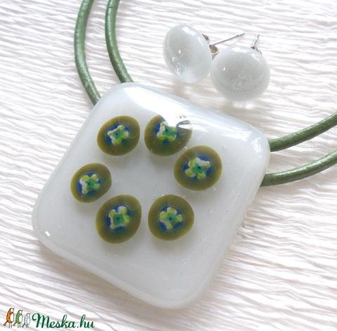 Ezüst szürke- zöld mintával, üvegékszer, ajándék  névnapra, születésnapra. (Dittiffany) - Meska.hu