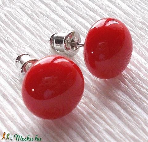 NEMESACÉL!  Piros üveg fülbevaló, ajándék lányoknak, nőknek névnapra,születésnapra. (Dittiffany) - Meska.hu