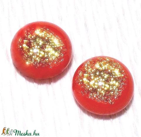 Piros-arany, üveg fülbevaló, ajándék  névnapra, születésnapra. (Dittiffany) - Meska.hu