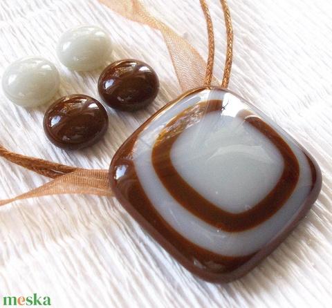 Csokoládé duó ékszerszett, nyaklánc és két pár stiftes fülbevaló , ajándék nőknek névnapra, születésnapra. (Dittiffany) - Meska.hu