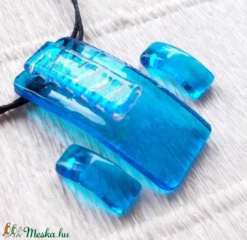 Kékítő üvegékszer, nyaklánc és fülbevaló, ajándék karácsonyra. (Dittiffany) - Meska.hu