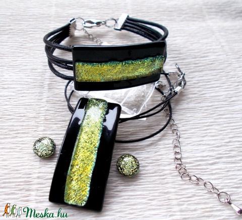 Fekete-arany dichroic  ékszerszett, ajándék Valentin napra, névnapra, születésnapra. (Dittiffany) - Meska.hu