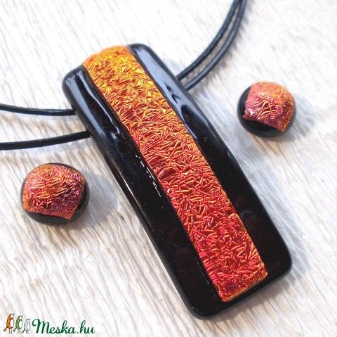 Vörös és fekete dichroic  ékszerszett, ajándék Valentin napra, névnapra, születésnapra. (Dittiffany) - Meska.hu