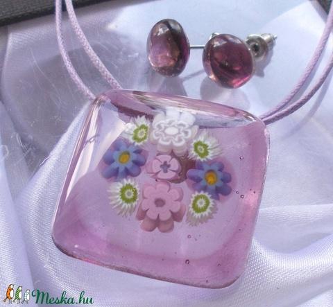 Orgona csokor, üveg medál és fülbevaló, ajándék  ballagásra, névnapra, születésnapra. (Dittiffany) - Meska.hu