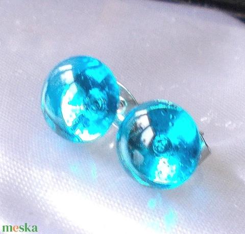NEMESACÉL!  Kék ragyogás fülbevaló, ajándék névnapra, születésnapra. (Dittiffany) - Meska.hu