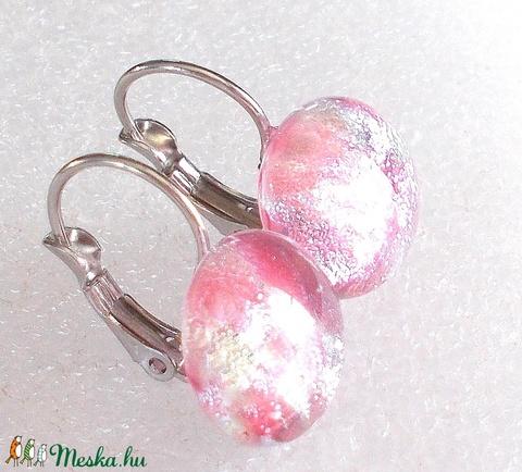 Nemesacél ezüst magnólia francia kapcsos fülbevaló, ajándék nőknek névnapra, születésnapra.  - ékszer - fülbevaló - lógós kerek fülbevaló - Meska.hu