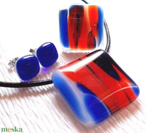 AKCIÓ! Piros-kék mintás üvegékszer szett, ajándék tanárnéniknek évzáróra, névnapra, születésnapra. - Meska.hu