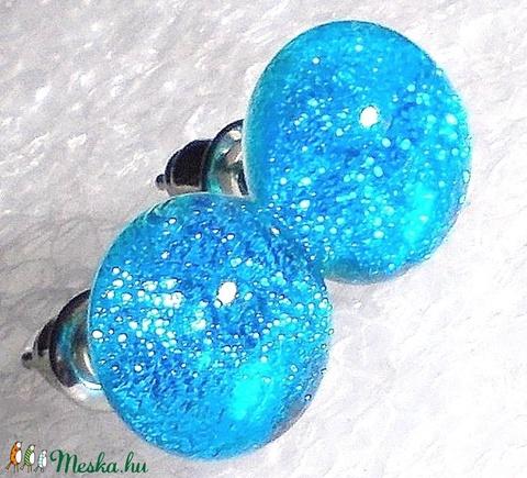 Kék gyémántfény, üveg fülbevaló  , ajándék  névnapra, születésnapra. - Meska.hu