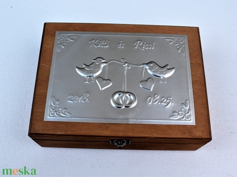 Nagy madárkás esküvői doboz - egyedi felirattal rendelhető! - Meska.hu