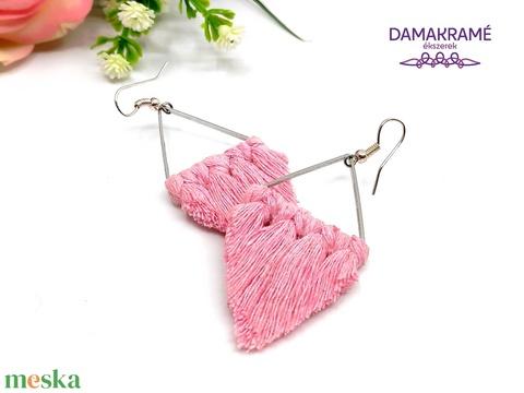 Lustre makramé fülbevaló - rózsaszín (DombiAnita) - Meska.hu